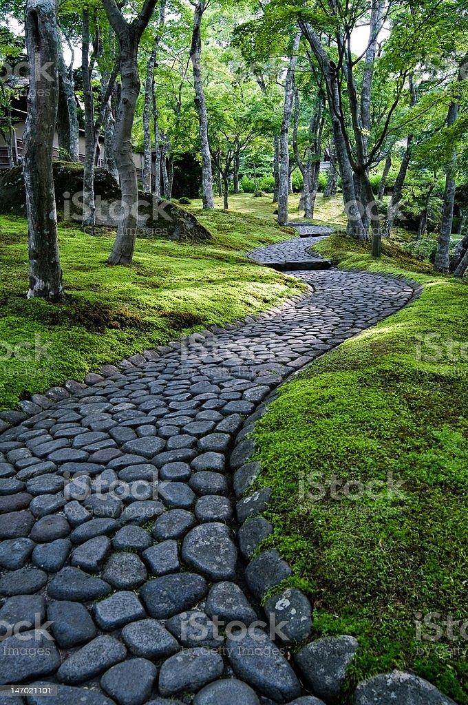 Winding path through Japanese moss garden stock photo