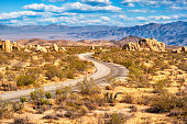 Stock photograph of the winding Pinto Basin road in Joshua Tree National Park California USA