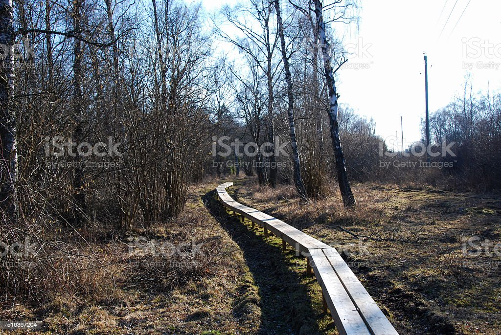 Winding planked footpath stock photo