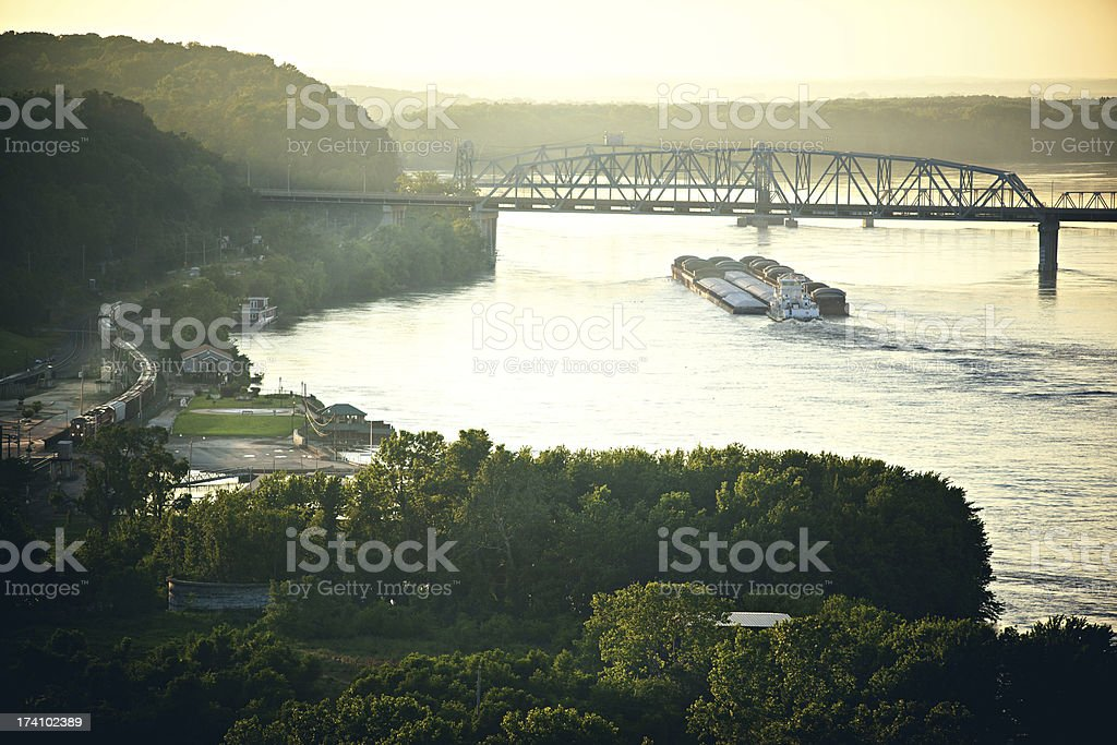 Winding railroad tracks freight train stock photo