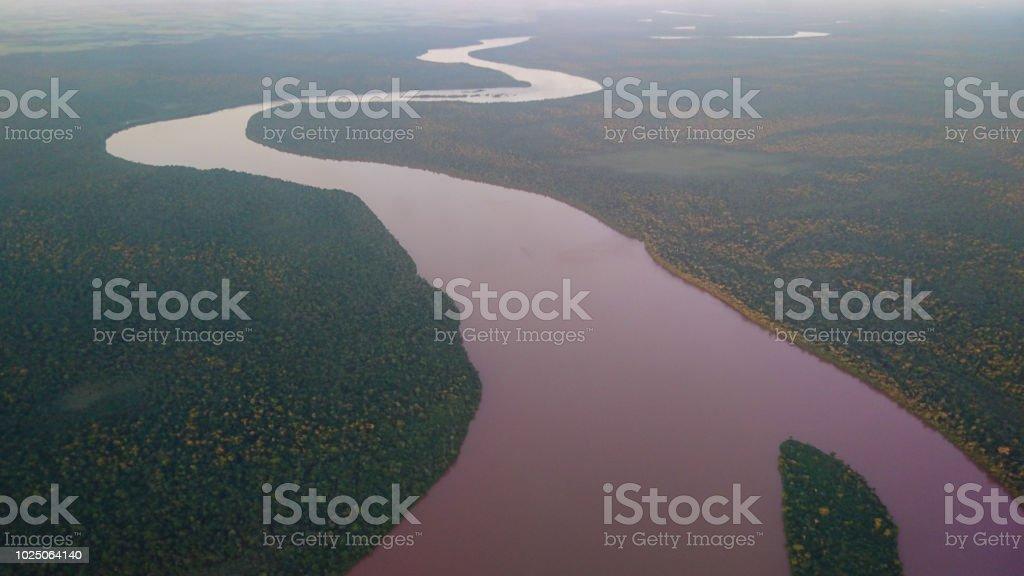 Winding river seen from above - O sinuoso Rio Iguaçú visto de cima stock photo