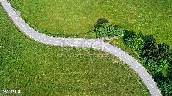 Winding road through rural scene - aerial view