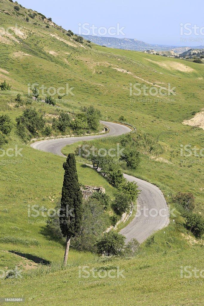 Winding road and cypress near Craco, Basilicata, Italy royalty-free stock photo