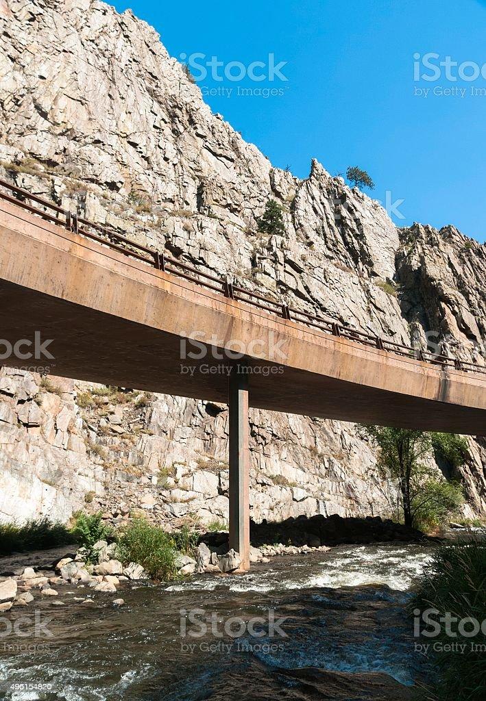Winding Road, Big Thompson River, Colorado stock photo