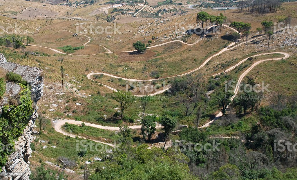 Winding Road from Enrice to Trapani stock photo
