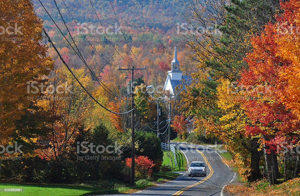 Winding road in autumn stock photo