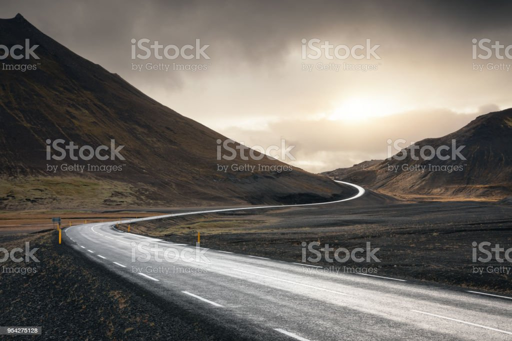 Winding Road In Iceland stock photo