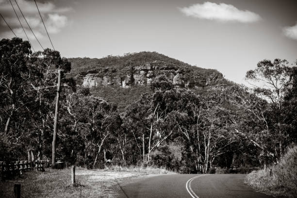 Winding Road in Megalong Valley stock photo