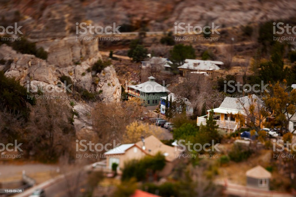 Winding road in Old Bisbee city stock photo