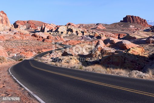 Winding road in Valley of Fire State Park, Nevada.