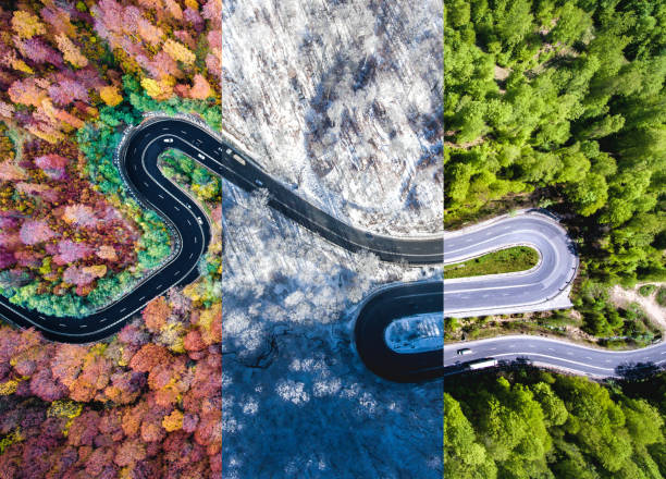 Winding road in the forest. Autumn, summer and winter time colage. Top down aerial view from a drone. stock photo