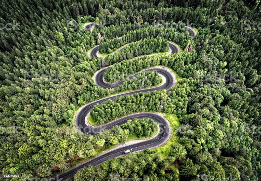 Winding road in the forest stock photo