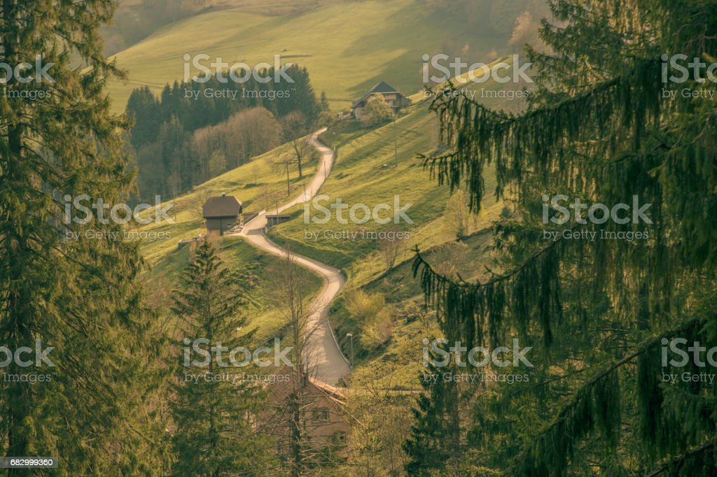 A winding road in the mountains royalty-free stock photo