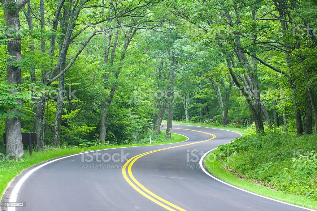 A winding road in the Shenandoah national forest royalty-free stock photo