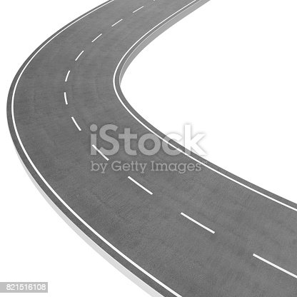 istock Winding Road isolated on White Background. Road way location infographic template. Two-way road bending on a white background. Asphalt road with turns, 3D rendering 821516108