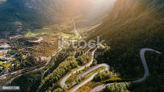 Winding road near the Lysebotn, Norway