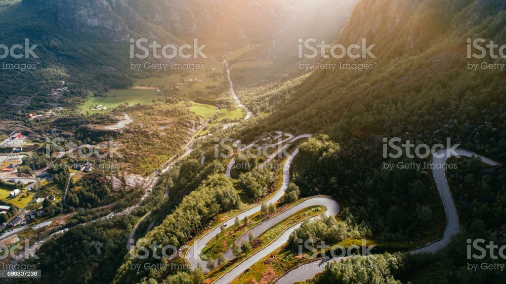 Winding road near the Lysebotn stock photo