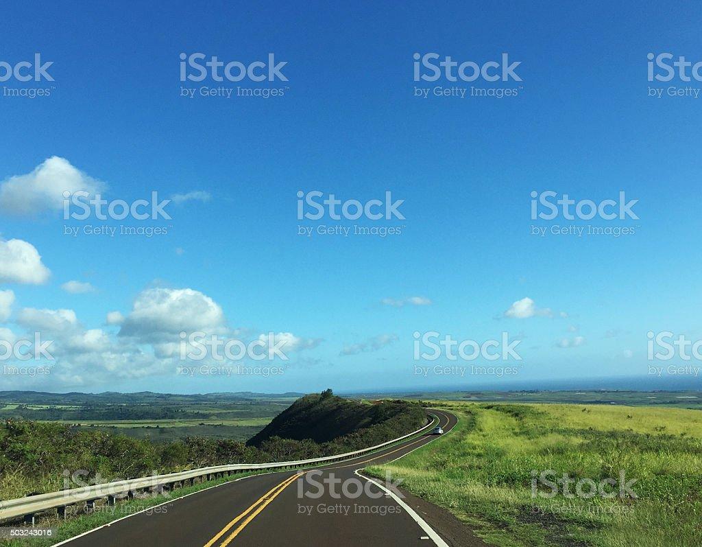 Winding road on the way to Waimea Canyon, Kauai stock photo