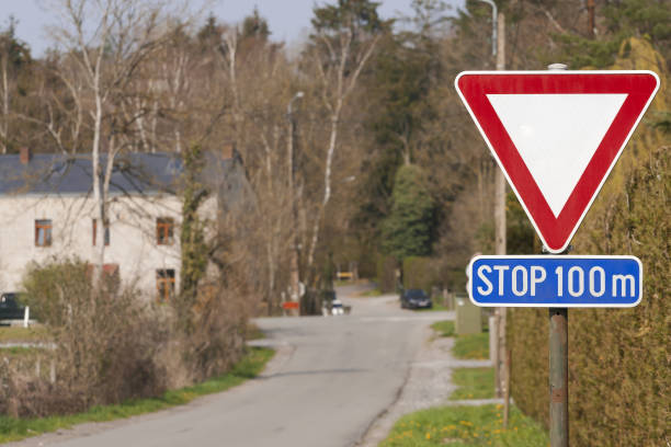 Winding road sign stock photo