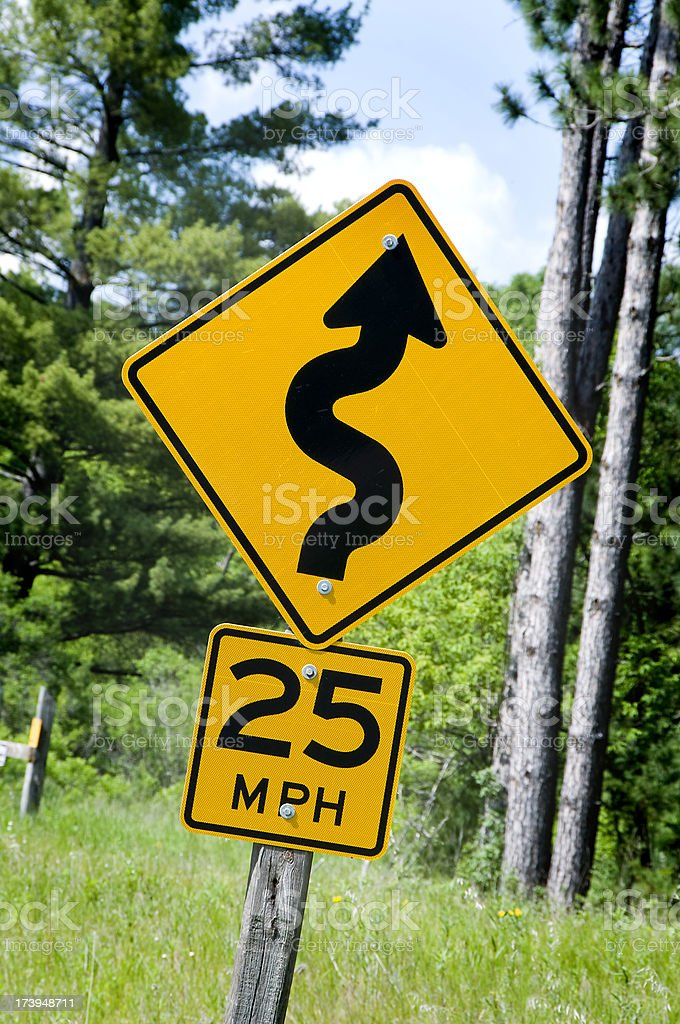 Winding Road Sign royalty-free stock photo