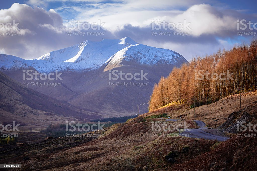 Winding Road through Glen Etive stock photo