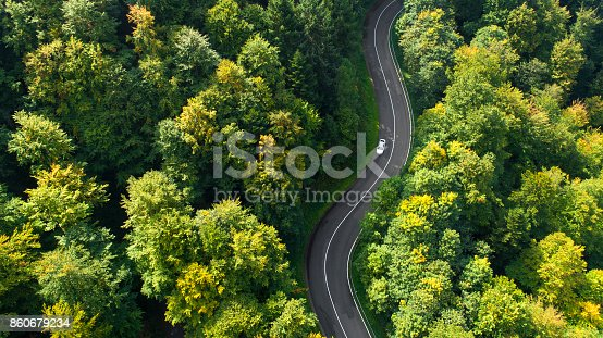 istock Winding road through the forest 860679234