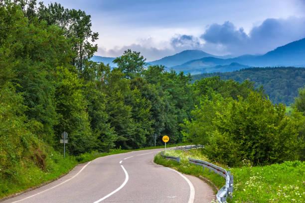 un sinuoso camino a las montañas en valjevo, serbia. - antigua yugoslavia fotografías e imágenes de stock