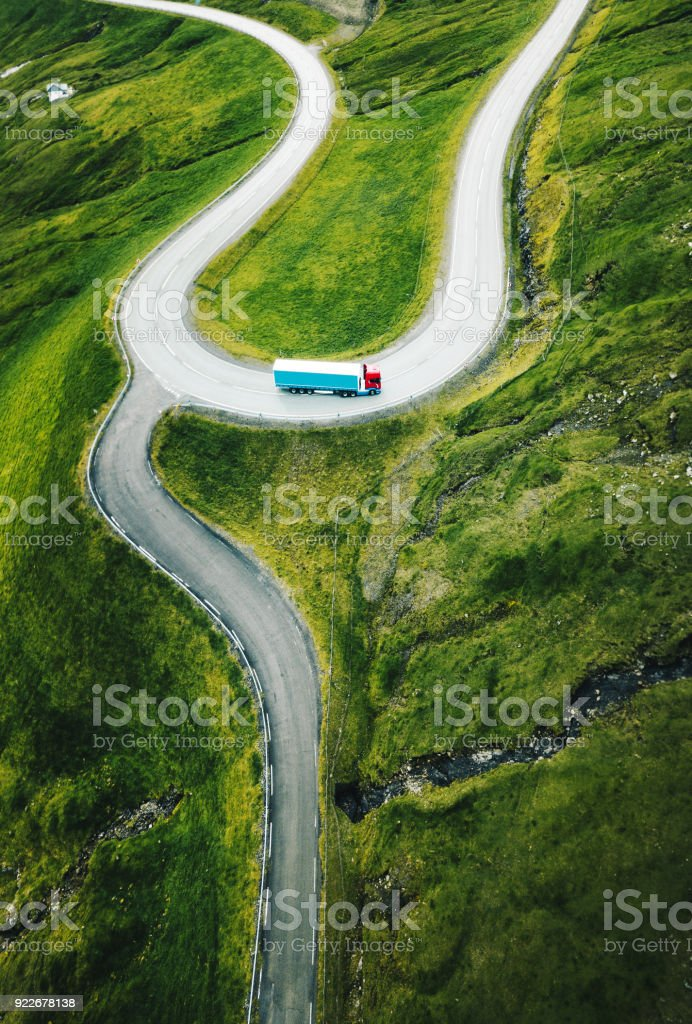 winding roads at faroe islands stock photo