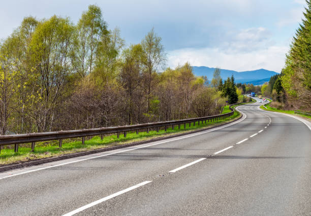 Winding section of the A9 in Scotland stock photo