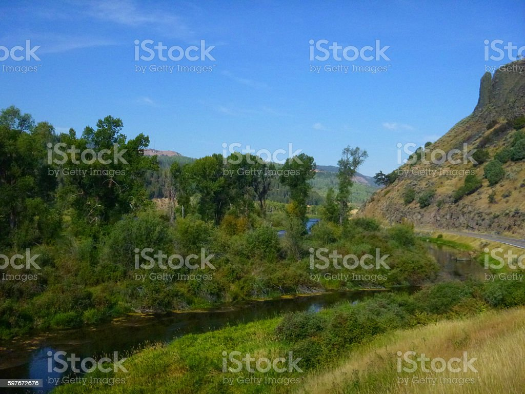 Winding Snake River in Wyoming stock photo
