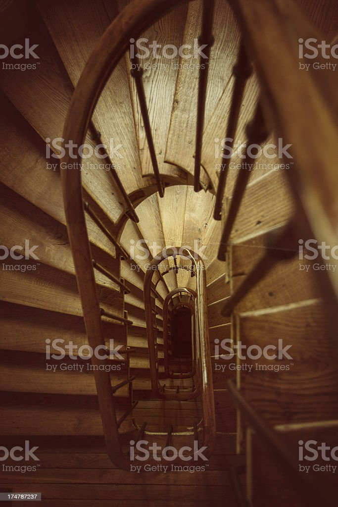 Winding Spiral Wooden Staircase royalty-free stock photo