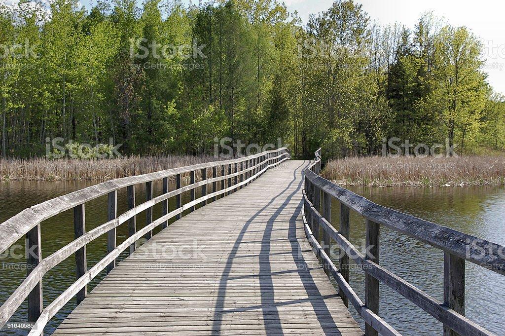 Winding wooden footbridge royalty-free stock photo