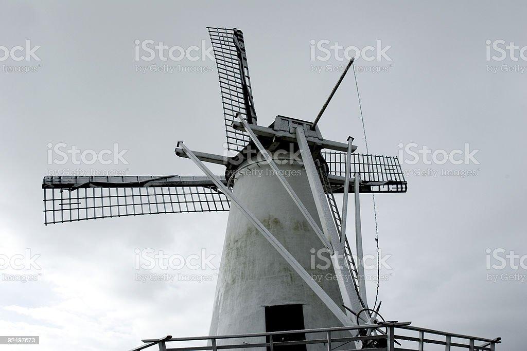 windmill against gloomy sky royalty-free stock photo
