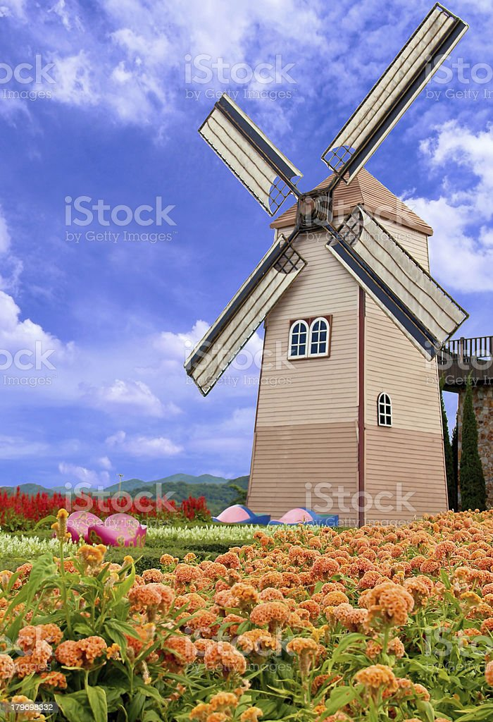 Windmill and flower garden royalty-free stock photo