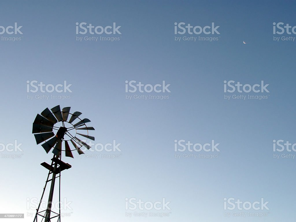 Windmill and moon royalty-free stock photo