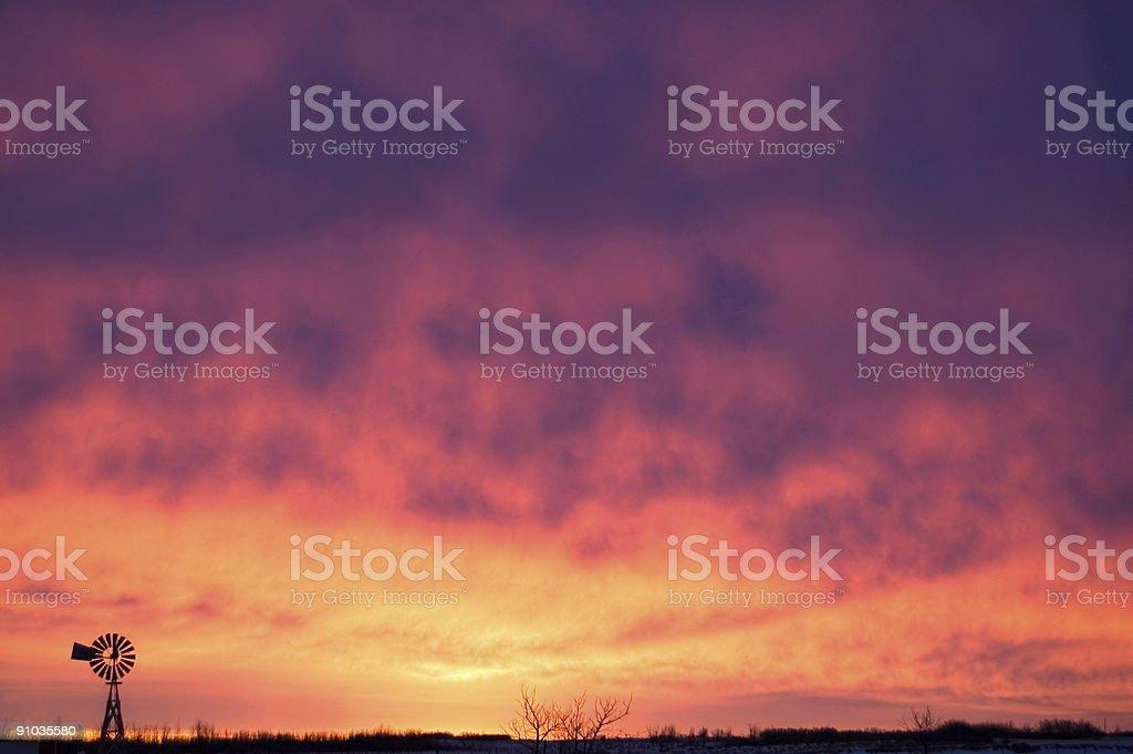 Windmill and Morning Sunrise 2 royalty-free stock photo