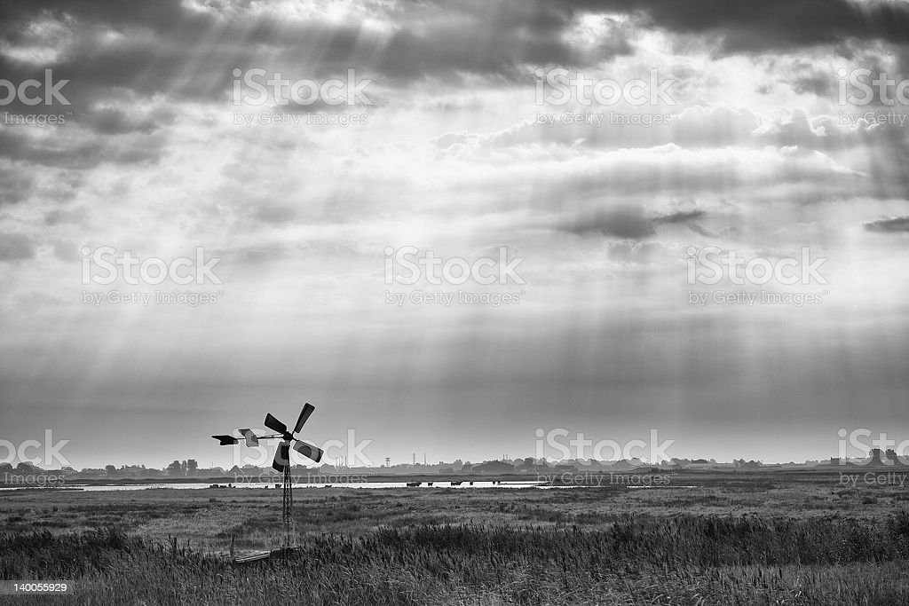 Windmill and Rays of Sun royalty-free stock photo