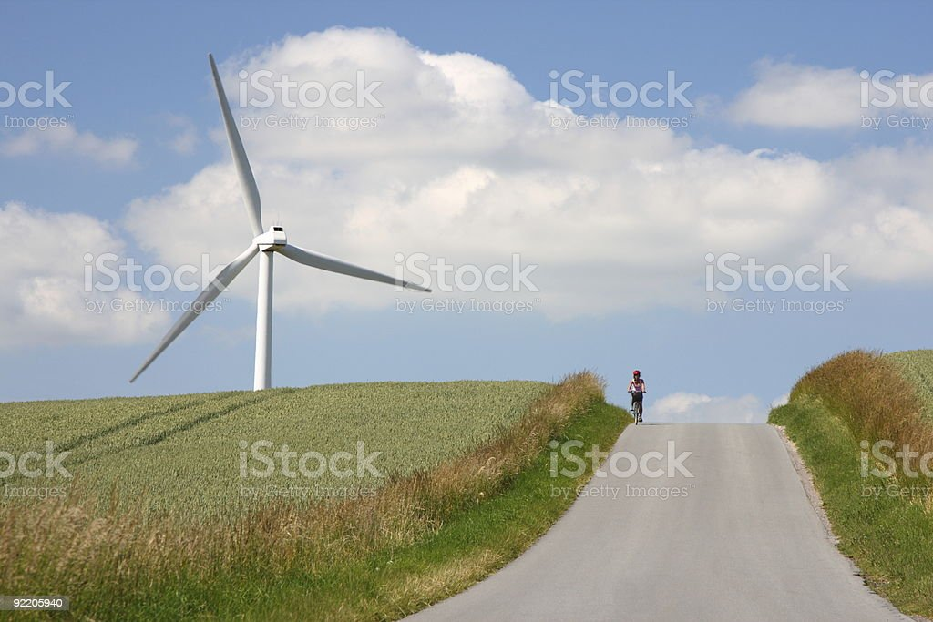 Windmill and road royalty-free stock photo