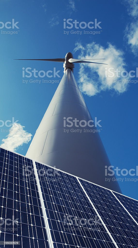 Windmill and Solar Panel royalty-free stock photo