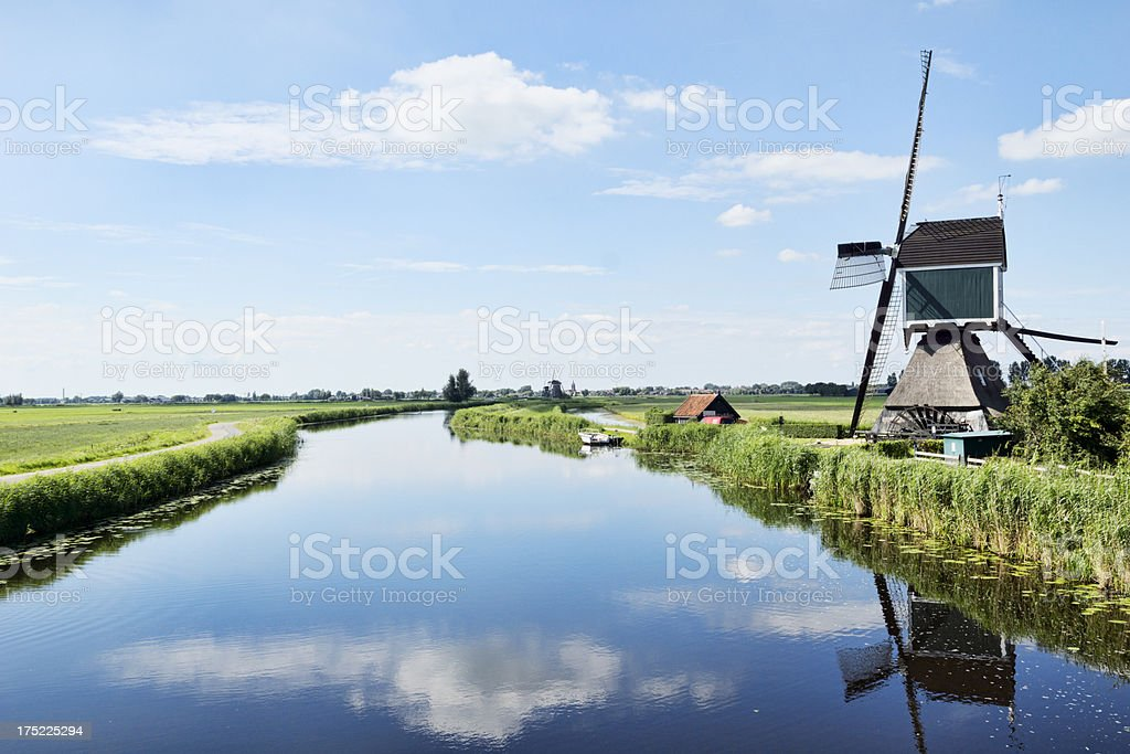 Windmill at canal in the Alblasserwaard royalty-free stock photo