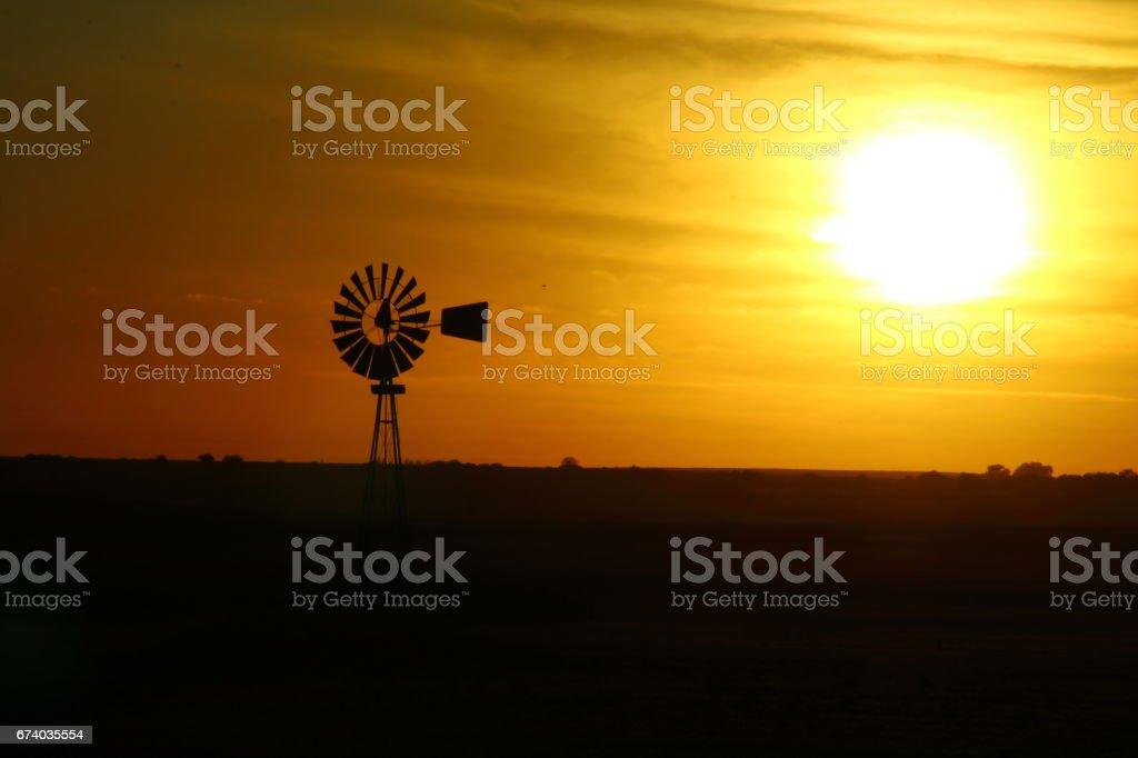 Windmill at dawn royalty-free stock photo