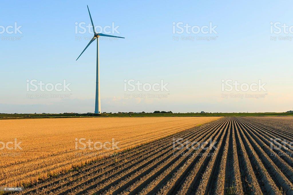 Windmill at farmer fields stock photo