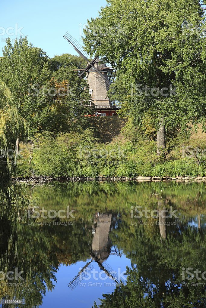 Windmill at the Copenhagen Citadel - Kastellet stock photo