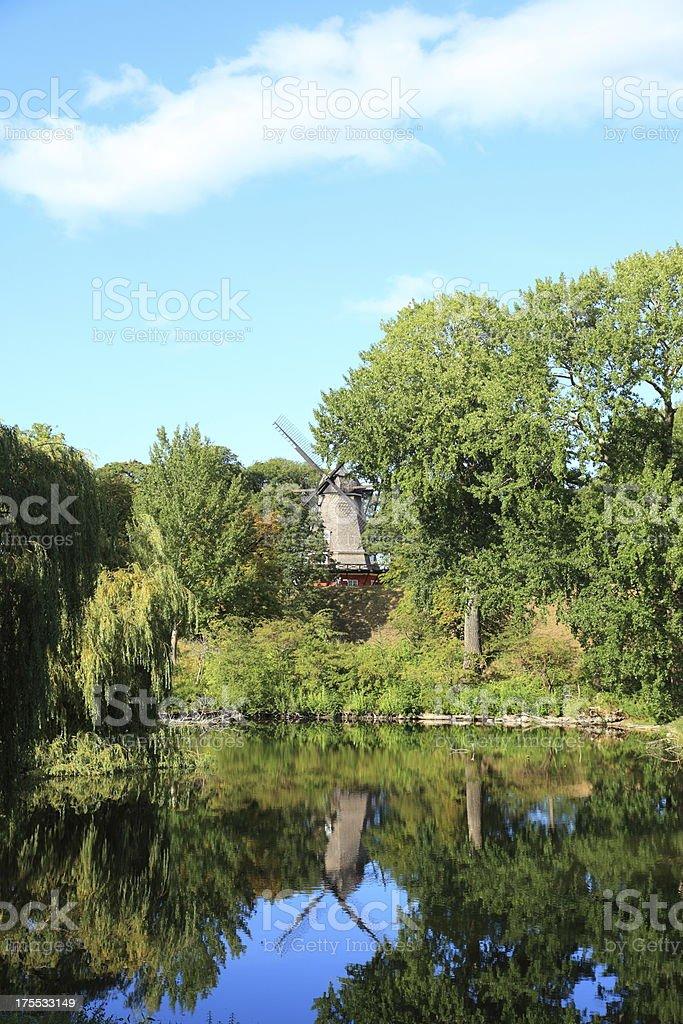 Windmill at the Copenhagen Citadel - Kastellet stock photo