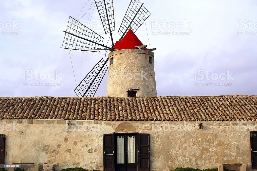 Windmill at the dusk royalty-free stock photo