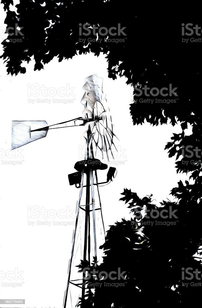 Windmill at work stock photo