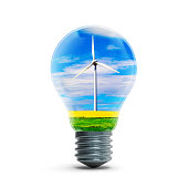 Windmill generators inside light bulb isolated on white background 3D rendering