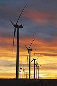 Windmill Farm along the Eastern Plains, Colorado on Sunset