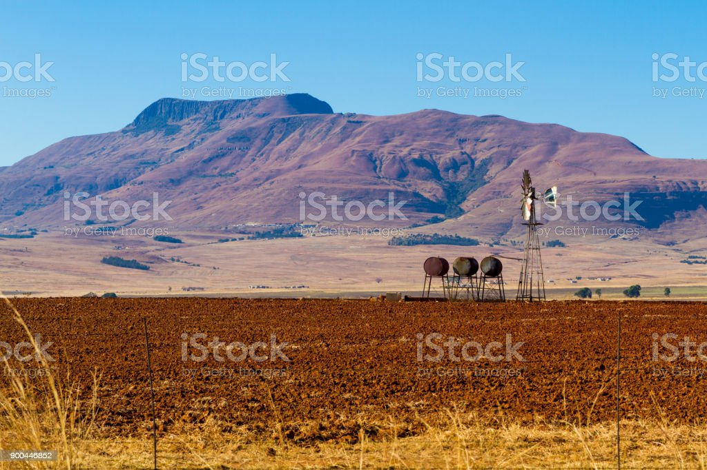 Windmill & Farm in South Africa stock photo