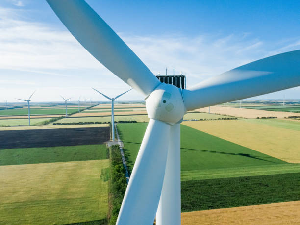Windmill for electric power production closeup stock photo